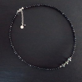 COLLIER BLACK PEARL RDC SPINELLE